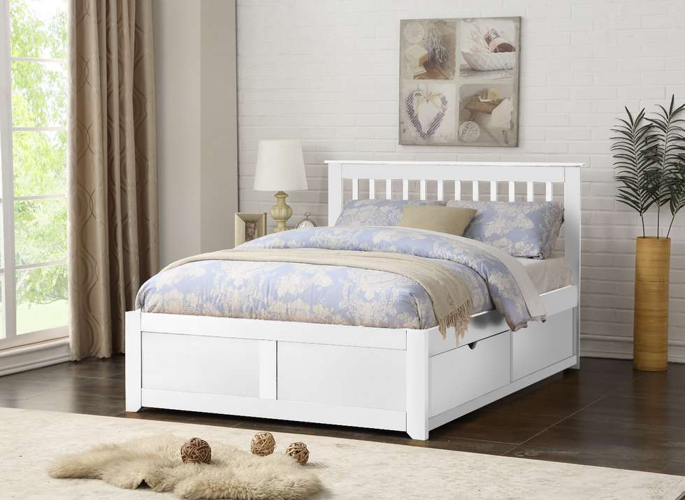 Flintshire Furniture Pentre Fixed Drawer Bed-White
